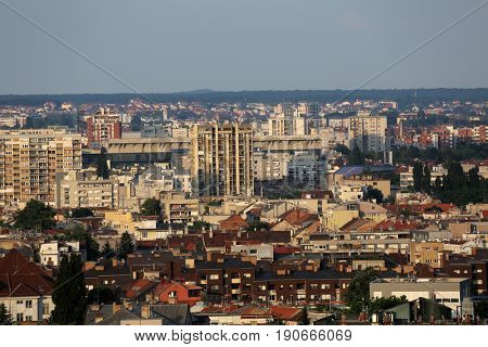 ZAGREB, CROATIA - MAY 31: Aerial view of Zagreb, eastner part panorama in bright sunny day, Zagreb, Croatia on May 31, 2015.