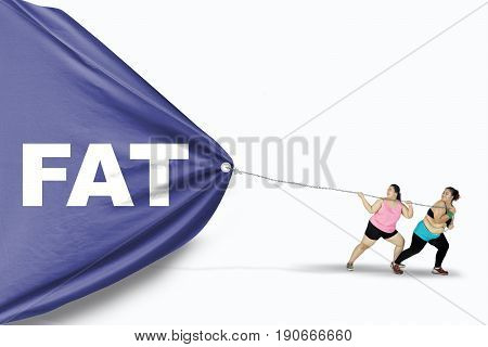 Two overweight women dragging a big banner with a Fat word while wearing sportswear isolated on white background