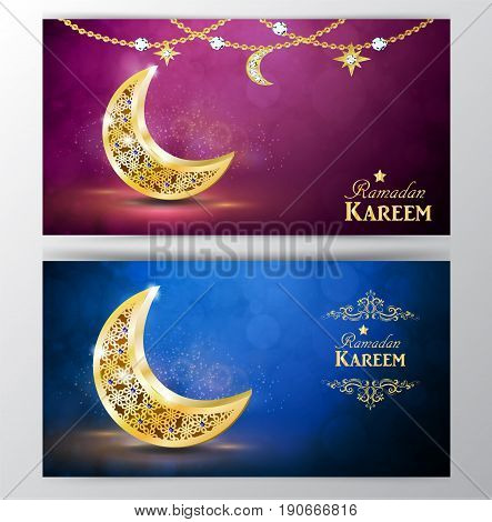 Ramadan greetings with golden moon on bokeh background banner set vector