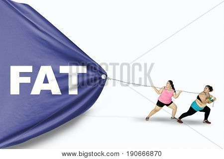 Two young overweight women pulling a big banner with a Fat text isolated on white background