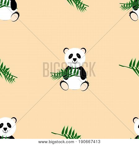 Cute panda on a beige background with a bamboo branch in the paws. Seamless pattern for wrapping paper background image printed products and textiles