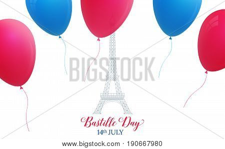 Bastille Day. French holiday card with Eiffel Tower and colorful balloons. 14th of July.