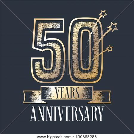50 years anniversary vector icon, logo. Graphic design element with ribbon and golden color and grunge texture number for 50th anniversary ceremony