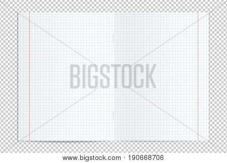Vector illustration of realistic blank checked copy book spread isolated on transparent background