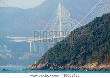 Ting Kau Bridge behind the mountain