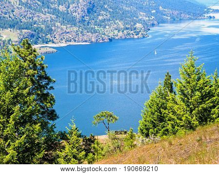 British Columbia Canada Okanagan lake view from the mountain overlook