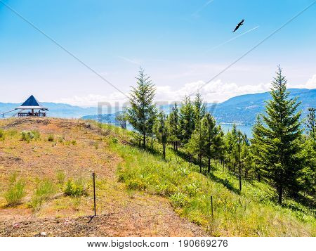 The mountain viewpoint over Kelowna British Columbia Canada on the Okanagan lake
