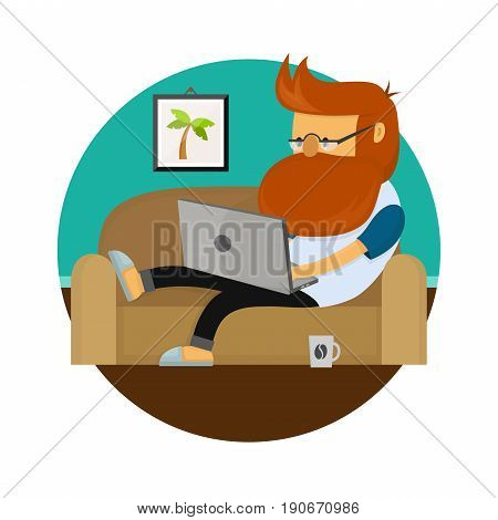Young freelancer hipster man working character sitting on sofa with laptop computer. Vector modern flat style cartoon illustration icon. Isolated on white background. Freelance home work concept