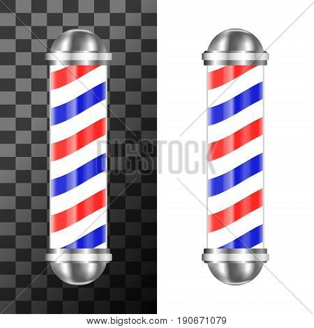 Classic barbershop pole with red, blue and white stripes. Vector illustration.