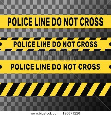 Police line do not cross and danger tapes. Vector illustration.