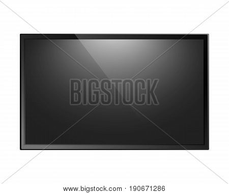 TV screen isolated on white background. Modern lcd panel, led display, computer monitor. Vector illustration.