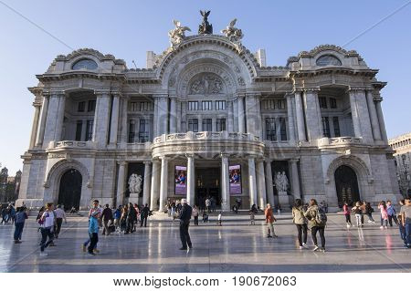 MEXICO CITY MEXICO - APRIL 19 2017: Completed in 1934 under Mexican architect Federico Mariscal the Palacio de Bellas Artes (Palace of Fine Arts) in a well-known cultural center in the heart of Mexico City.