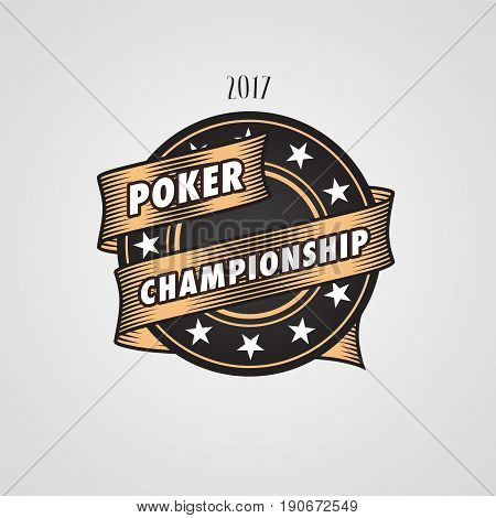 Poker, casino vector logo, emblem. Design element with casino chips and sign Poker championship