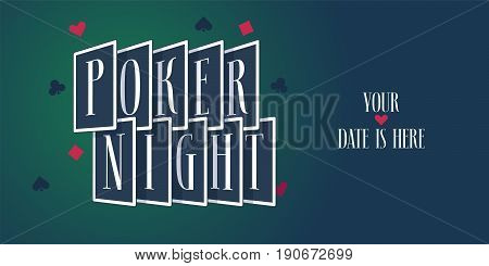 Poker night vector logo, icon. Template design element with playing cards for poker sport tournament