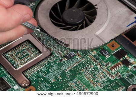 Technician Repairing Laptop At Desk