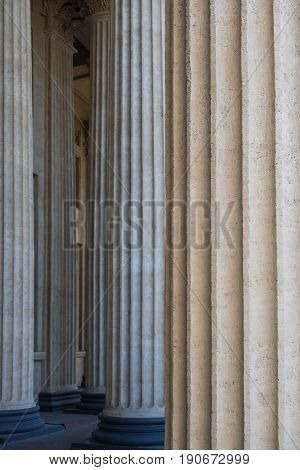 Colonnade of Corinthian columns of Kazan Cathedral in St. Petersburg.