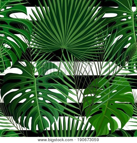 Seamless pattern with green tropical exotic palm leaves on abstract white background. Fabric, wrapping paper print. Vector illustration stock vector.