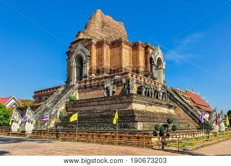 The Wat Chedi Luang Temple in the old city of Chiang Mai Thailand poster