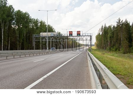 Tver Region Russia - June 26 2016: Toll motorway M11