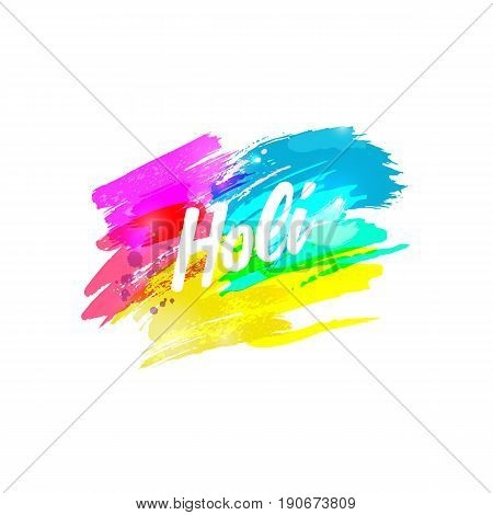 Holi. Indian Fest Party celebration. Spring festival of color splash, paint clouds. Watercolor abstract background. Template for creative flyer, banner, business card, club print. Vector illustration