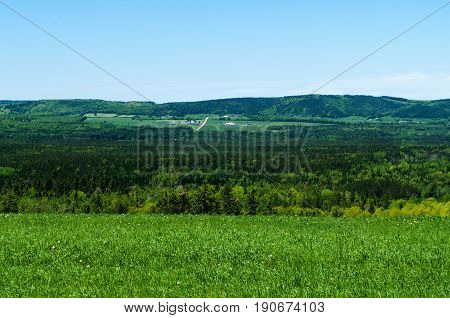 Rural farm land overlooking a valley near Sussex