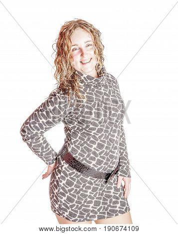 Cheerful Curly Woman