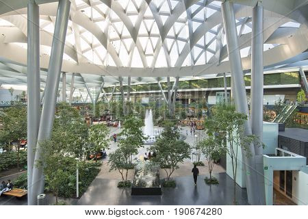 MEXICO CITY MEXICO - APRIL 20 2017: Mexico is the leader in Latin America for the construction of commercial centers. Toreo Parque Central took four years to complete and opened on November 13 2014.