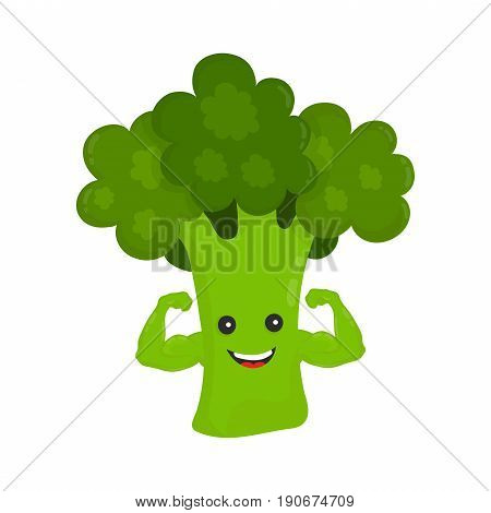 Happy smile strong broccoli show biceps muscles. Vector modern flat style cartoon character illustration icon design.Isolated on white background. Healthy food power. good nutritionvegetarian concept