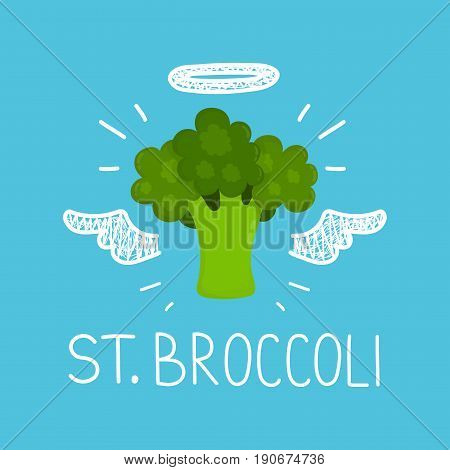 "Heaven broccoli concept ""St. broccoli"" with angel halo and wings. Flat and doodle vector isolated illustration icon design. healthy food love broccoliveganvegetarian cardposterraw concept design poster"