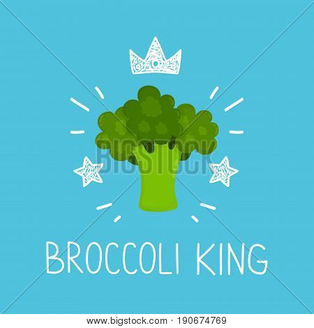 King broccoli. vector cartoon flat and doodle fun isolated illustration. Crown and stars icon. healthy food love broccoli vegan vegetarian card poster raw concept design