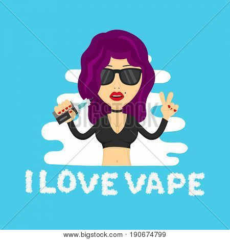 Young hipster sexy beauty woman girl profile with vape. Flat vector isolated illustration. vaping shop addiction liquid no nicotine no smoking e-cigarette vaporize vapor concept. Cloud letters