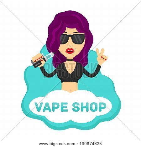 Young hipster sexy beauty woman girl profile with vape. Flat vector isolated illustration. vaping shop no nicotine no smoking e-cigarette vaporize vapor logo concept. Isolated on white background