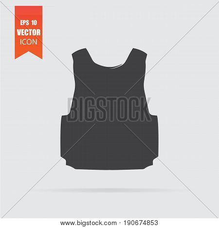 Bulletproof Vest Icon In Flat Style Isolated On Grey Background.