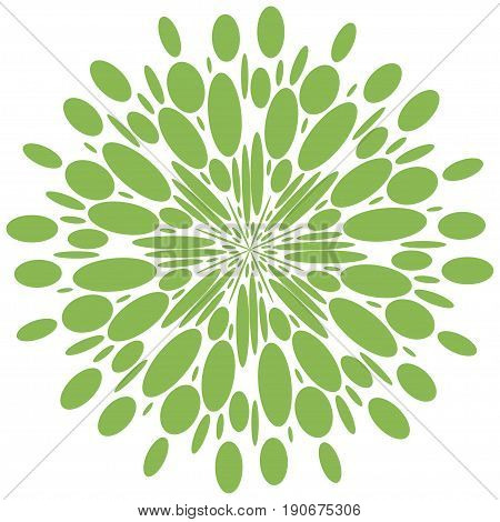 Abstract radial shape. greenery isolate pattern. vector design element