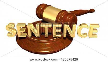 Sentence Law Concept 3D Illustration