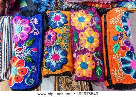 Peruvian traditional wares for sale in Pisac Peru