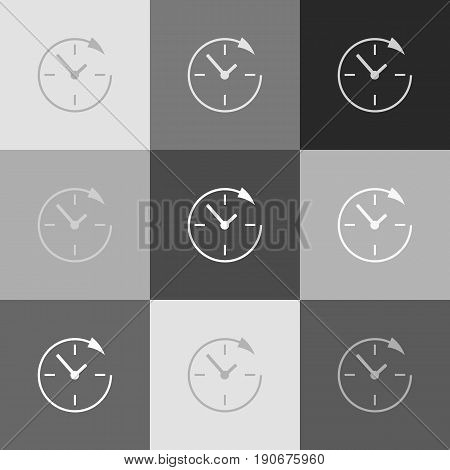 Service and support for customers around the clock and 24 hours. Vector. Grayscale version of Popart-style icon.