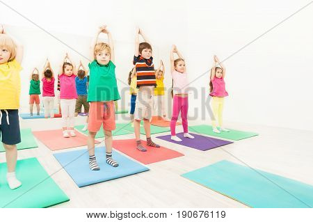 Group of 5-6 years old kids standing on yoga mats with their hands up during gymnastics in sport club