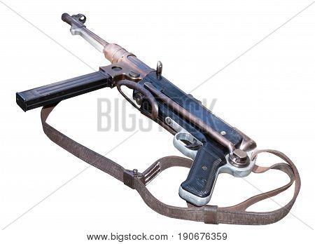 German Mp40 submachine gun isolated on white background