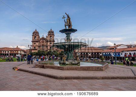 Cusco, Peru- March 16, 2017: Statue at the Plaza de Armas in Cusco Peru
