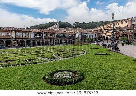 Cusco, Peru- March 16, 2017: Plaza de Armas Cusco Peru