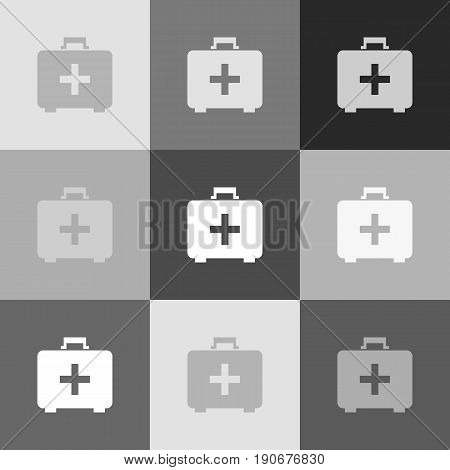 Medical First aid box sign. Vector. Grayscale version of Popart-style icon.