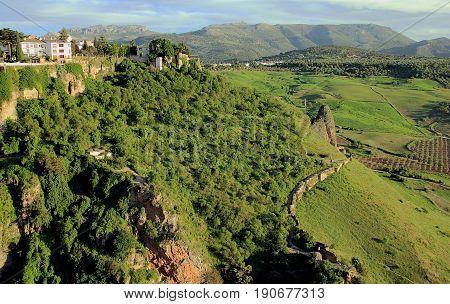 Ronda, Spain, a landscape with Tajo Gorge.