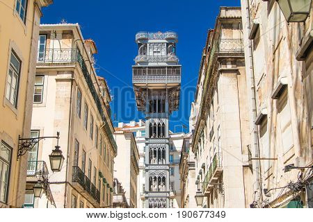 Famous Santa Justa elevator in the Baixa District in Lisbon, Portugal, 19th century project by Raul Mesnier de Ponsard