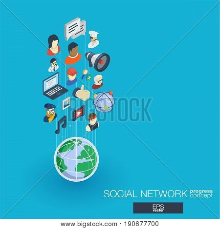 Society integrated 3d web icons. Digital network isometric progress concept. Connected graphic design line growth system. Abstract background for social media, people communication. Vector Infograph