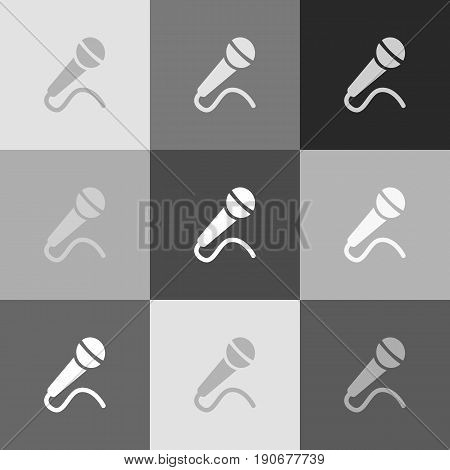 Microphone sign illustration. Vector. Grayscale version of Popart-style icon.