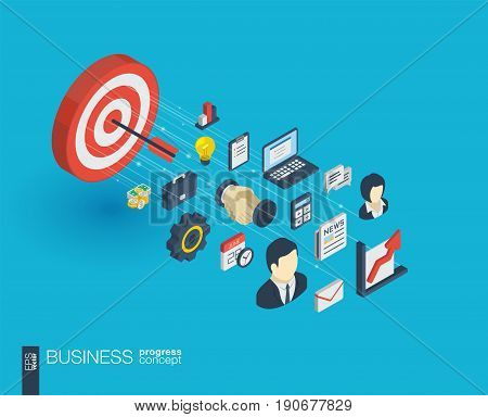 Business integrated 3d web icons. Digital network isometric progress concept. Connected graphic design line growth system. Abstract background for market mission and strategy plan. Vector Infograph