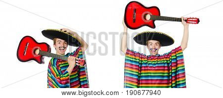 Funny young mexican with guitar isolated on white