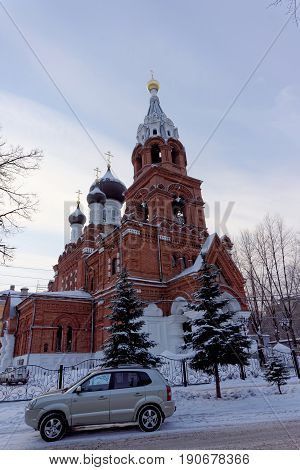 Nizhny Novgorod, Russia. - December 02.2016. Winter view of the Temple of the All-Merciful Savior.