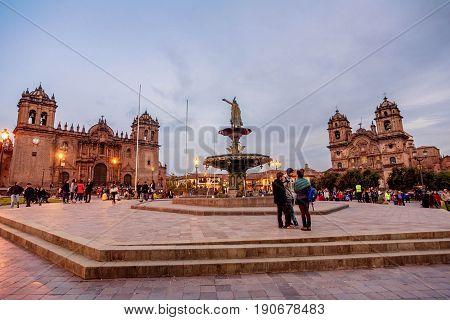 Cusco, Peru- March 17, 2017: Plaza de Armas Cusco Peru